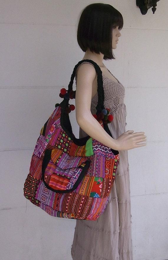 VINTAGE PATCHWORKS Tote Huge Oversize Bag - Handmade HMONG Bag -  Thailand (145b)