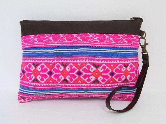 HMONG Hill Tribe Wristlet Vintage Fabric Leather Trim Fair Trade Thailand (BG282A.716)