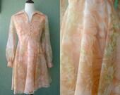 60s Mod Chiffon Dress S
