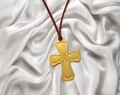 Christian Cross Wood Carving Pendant  MariyaArts