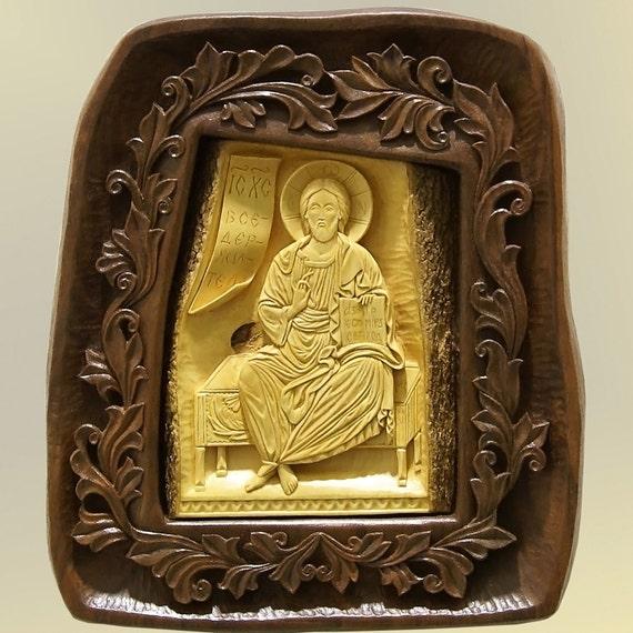 Art Wood Carving, Jesus Christ, Orthodox Christian Religious Icon, Byzantine, Wood Sculpture, Wood Wall Artwork, MariyaArts