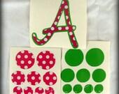 Printed Vinyl Initial and Polka Dot Set- DIY Vinyl for your Items
