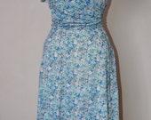 Blue Floral Jersey 1940's style tea Dress