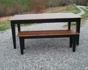 Black Dining Table, Kitchen table, Solid Wood table, Farmhouse Style Table