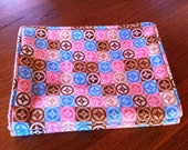 Burp cloth set-nursing-pink, brown and blue print-burp cloths