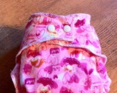 Fairy Princess cloth diaper with snap in zorb soaker