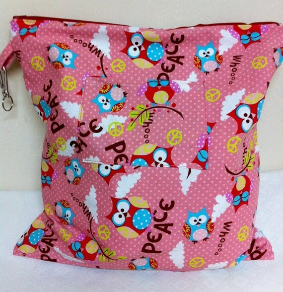 Medium Waterproof Wetbag Owls and Peace signs