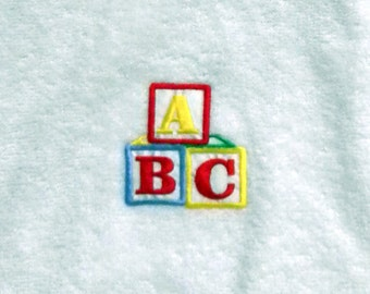 ABC Red Neck Trimmed Appliqued Towel Bib