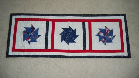 Homemade, Quilted, Red, White and Blue Table Runner with Pinwheel Designs