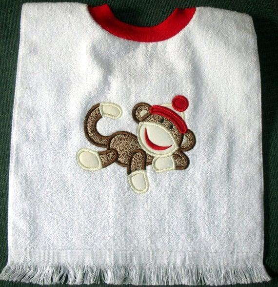 Original Sock Monkey Appliqued Towel Bib