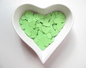 RESERVED - Confetti - 200 paper hearts - Green - Spring - Love - Decor - Birthday