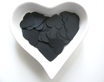 Confetti - 200 CARDBOARD hearts - Black - Dark - Party - Halloween - Decor - Birthday - Cake - Spring - Summer