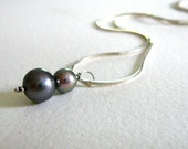 Dark Gray Two Pearl Sterling Silver Necklace