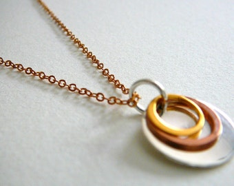 Copper, Gold and Silver Circles Necklace