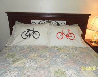 His & Hers Bicycle, Standard, Couples, Handpainted Pillowcases, Bedroom Decor