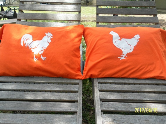 Rooster & Chicken Handpainted Pillow Cases for Your Bedroom Decor