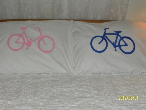 His & Hers Bicycle Handpainted Pillowcases