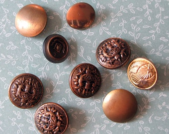 Buttons  Metal colored 9 pcs