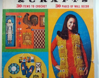 Macrame Book, Needlework and Crafts, Hippie Crafts, McCall's Magazine, Macrame Vest, Crewel Emboridery, 1970s Craft Book, Hippie Clothes