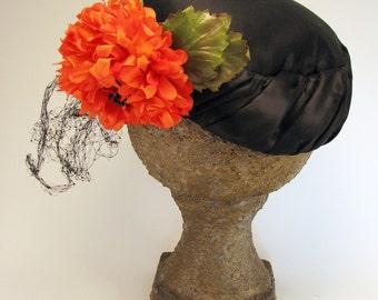 Pillbox Hat Black Satin Tangerine Flower