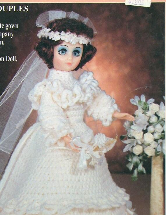Crochet Pattern Wedding Doll : Doll Wedding Dress Crochet Pattern 1989 by SouthcastleVintage