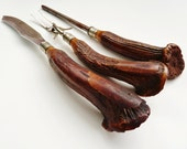 Antique Stag Horn Carving Set Keen Edge Kottle Cutlery Co. New York Germany - Set of 3