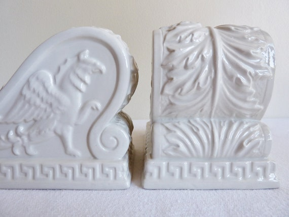 Bookends White Porcelian Greek Styled