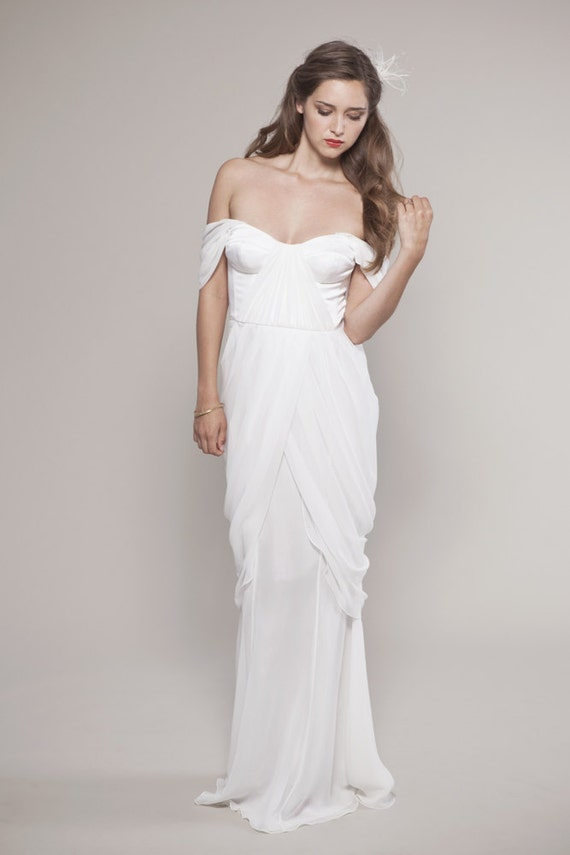 Items Similar To Chiffon Wedding Dress Draping Chiffon Bustier And Tulipe Ch