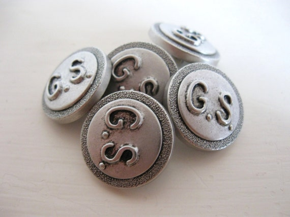 Silver Buttons Set of 5 with initials