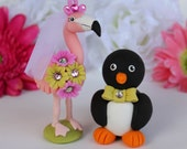 Flamingo and penguin wedding cake topper, customizable with banner