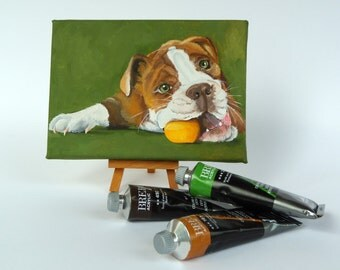 "Custom dog portrait, pet painting, dog cat portrait hand painted on a 5""X7"" canvas, petlover gift"