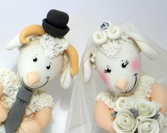 Sheep and ram cake topper for wedding cake, customizable