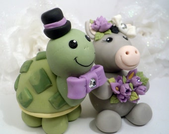 Turtle and donkey wedding cake topper, custom nicknames cake topper, animal cake topper, bride and groom cake topper, personalized wedding