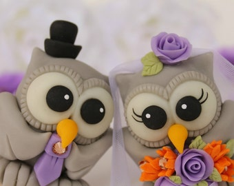 Love bird wedding cake topper owls - custom bride and groom personalized, with banner
