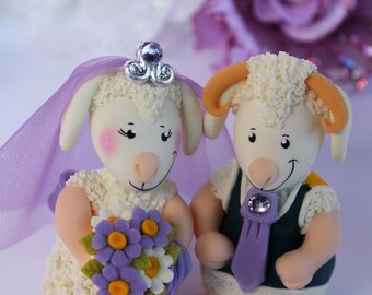 Wedding custom cake topper, sheep and ram cake topper, rustic country wedding, personalized bride and groom figurines with banner
