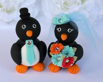 Custom wedding cake topper penguin - love birds bride and groom - robin egg blue, gerber daisies bouquet