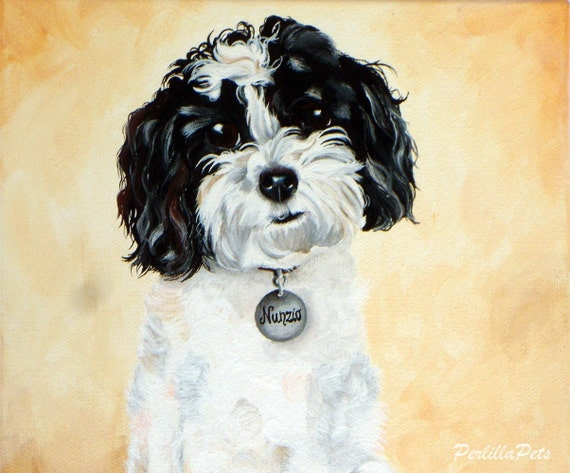 Custom pet portrait - from your photo hand painted on a 8x10 canvas, dog cat painting