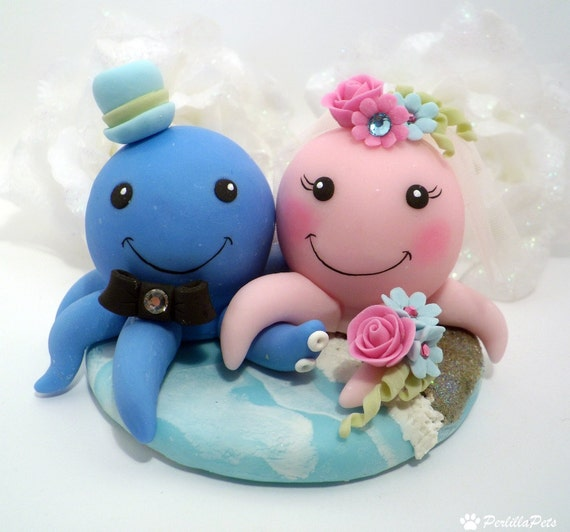 Octopus in love cake topper with sea base and banner