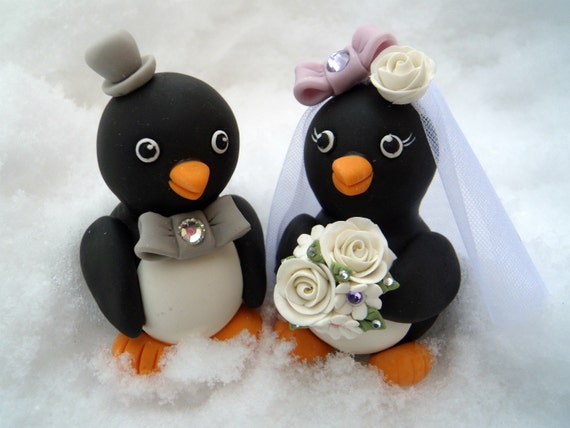 penguin wedding cake topper penguin wedding cake topper birds with banner for 18187