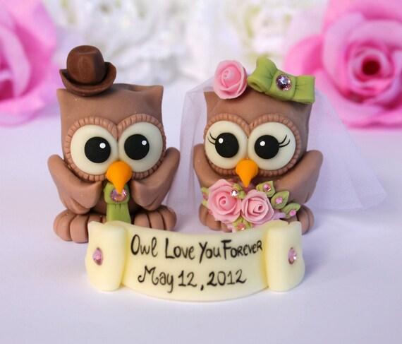 Owl love birds wedding cake topper - customizable - banner with a sentence