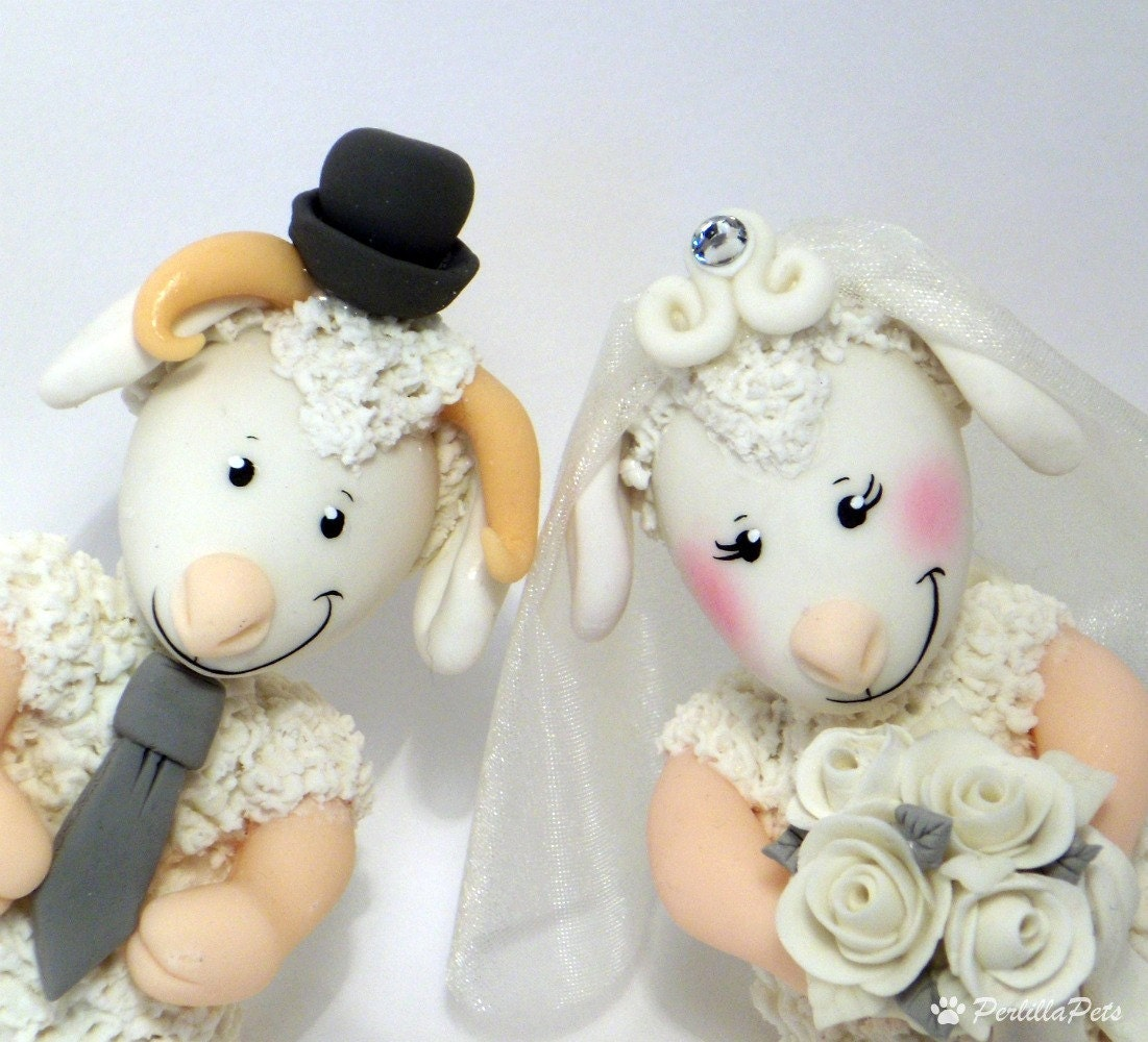 Knitting Cake Toppers : Sheep and ram cake topper for wedding customizable