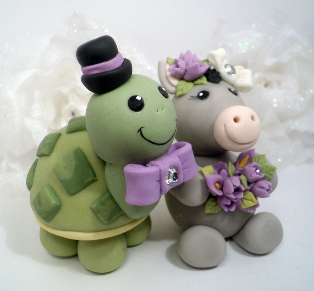 Turtle and donkey wedding cake topper custom nicknames cake