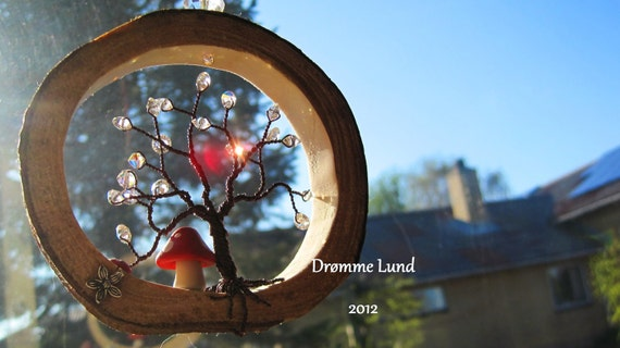 Tree Of Life Crystal Suncatcher With Toadstool Ladybug And Flower
