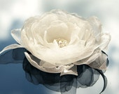 Ivory organza flower hair clip and brooch off-white bridal