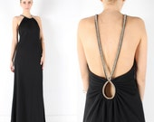 little black dress // vintage 80s 90s // black cocktail maxi dress // huge open back // jeweled rhinestone cutout // party // small