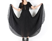 midi maxi skirt // vintage 90s // sheer black // flowy crinkle pleats // sweeping skirt // xsmall small