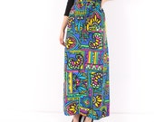 Vintage 70s // maxi skirt // stained glass design // tie waist //  Judy Bond // medium