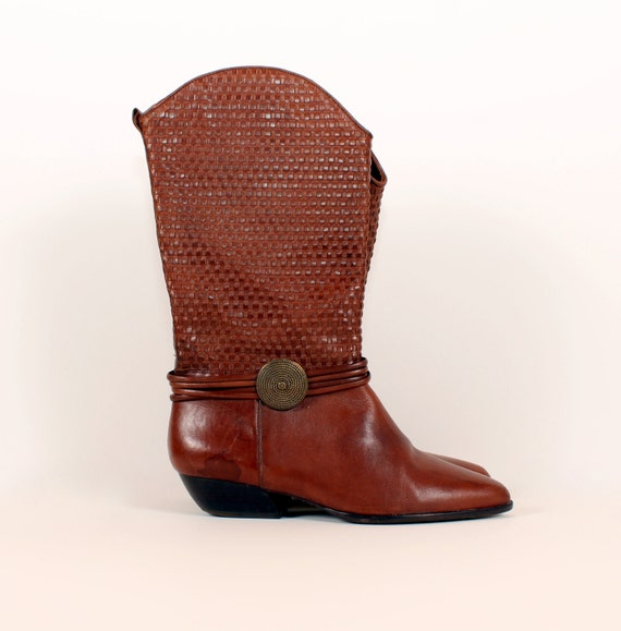 Vintage 80s // Brown Leather Western Boots // woven shafts & brass conchos // stacked  heel 8