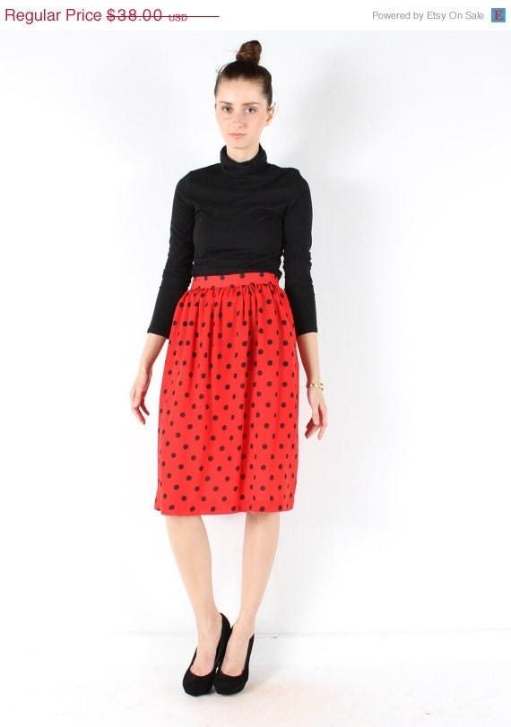 Vintage 80s // polka dot skirt // semi sheer red and black  //  flowy pleated  // small medium