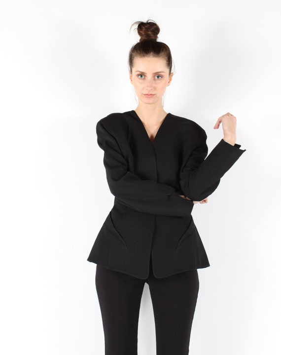 THIERRY MUGLER // Vintage 80s black blazer // avant garde // peplum waist // wool // small medium